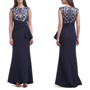Vince Camuto Sequin Lace Bodice Trumpet Gown Navy